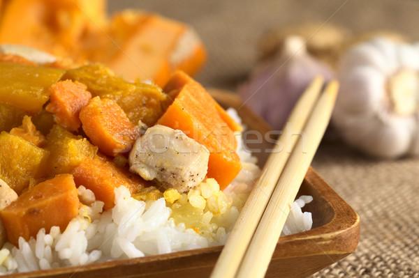 Kip pompoen zoete aardappel kerrie geserveerd rijst Stockfoto © ildi