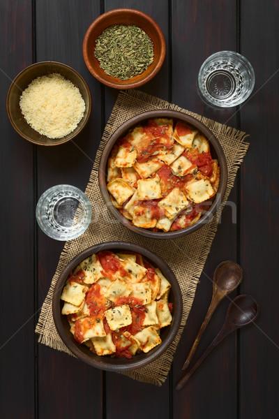 Ravioli salsa di pomodoro fatto in casa rustico Foto d'archivio © ildi