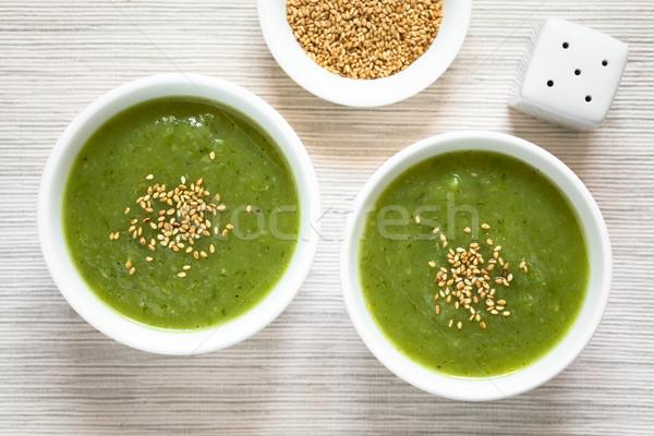 Krém cukkini leves friss pirított szezámmag Stock fotó © ildi