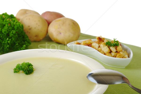 Aardappelsoep peterselie top ingrediënten geïsoleerd witte Stockfoto © ildi