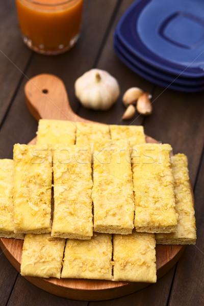 Sarımsak peynir taze ev yapımı maya hizmet Stok fotoğraf © ildi