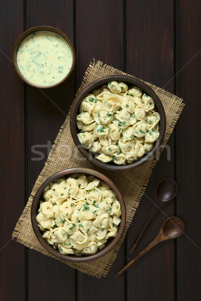 Cooked Tortellini with Parsley Cream Sauce Stock photo © ildi