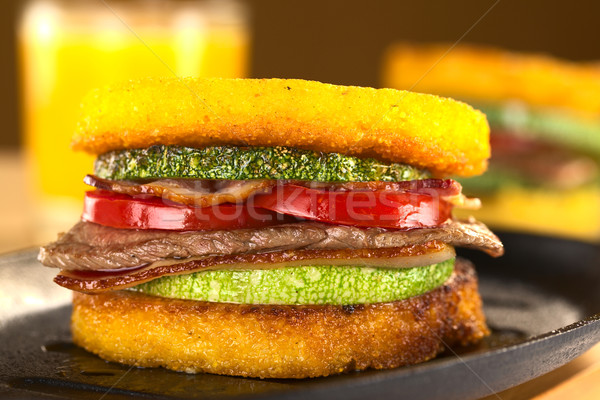 Photo stock: Frit · courgettes · lard · boeuf · tomate · jus · d'orange