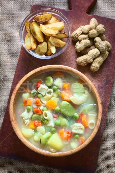 ピーナッツ スープ ショット 伝統的な 肉 パスタ ストックフォト © ildi