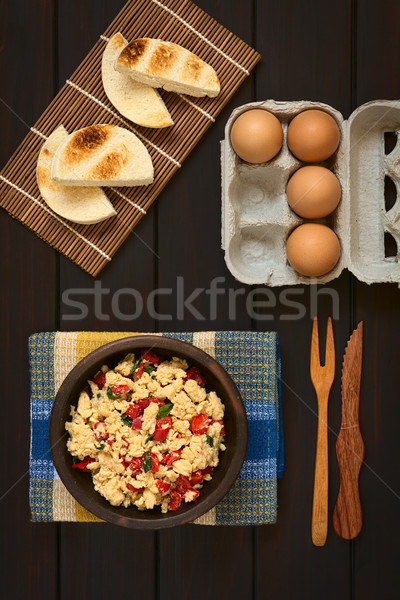 Scrambled Eggs with Red Pepper and Green Onion Stock photo © ildi
