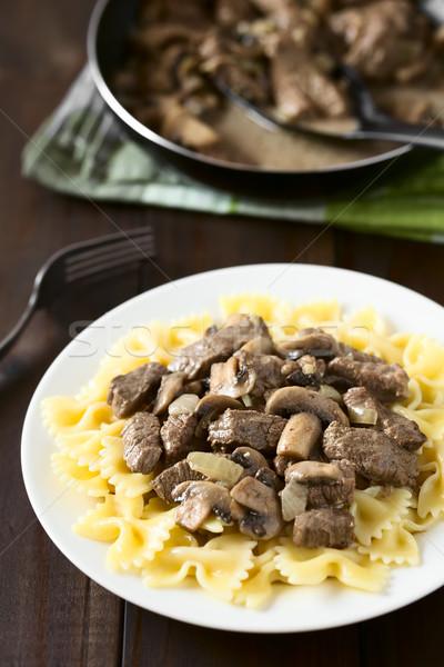 Beef Stroganoff on Farfalle Pasta Stock photo © ildi