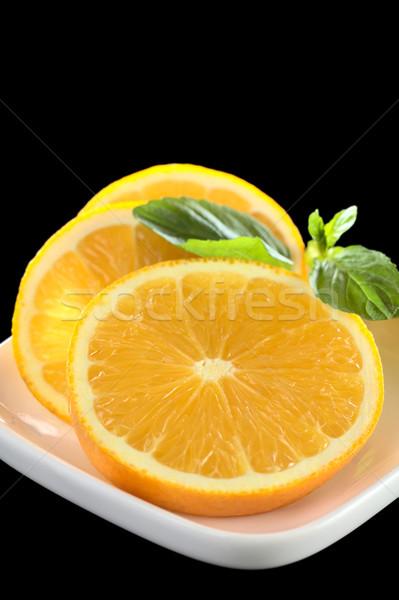 Pomarańczowy plastry mięty liści świeże serwowane Zdjęcia stock © ildi