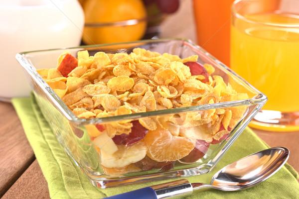 Vers vruchten cornflakes glas kom vol Stockfoto © ildi