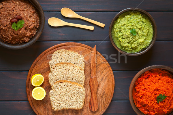Wholegrain Bread with Vegetable Spreads Stock photo © ildi