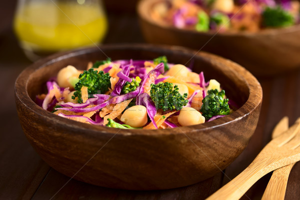 Red Cabbage, Chickpea, Carrot and Broccoli Salad Stock photo © ildi