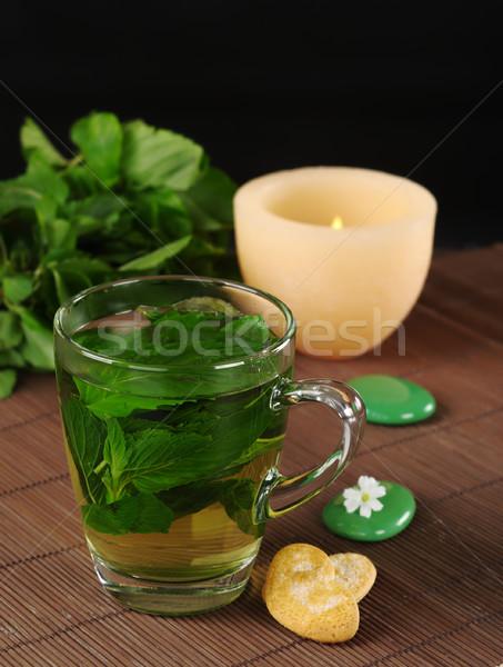 Fresco de chá bolinhos verde pedras Foto stock © ildi
