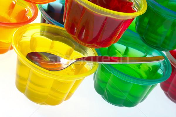 Színes teáskanál műanyag tálak köteg szelektív fókusz Stock fotó © ildi