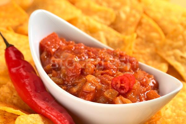 Hot Tomato Salsa with Nachos Stock photo © ildi