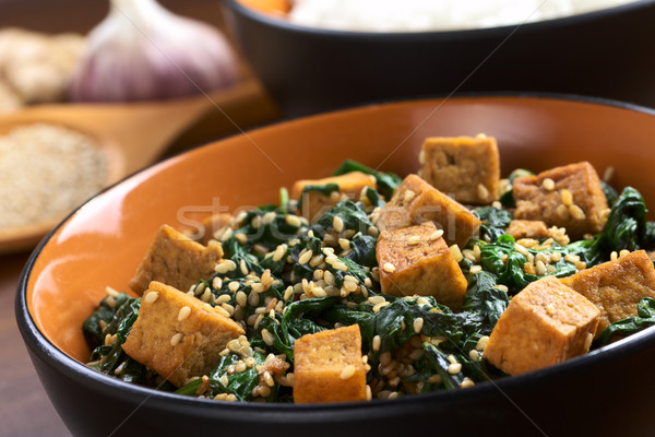 Tofu with Spinach and Sesame Stock photo © ildi