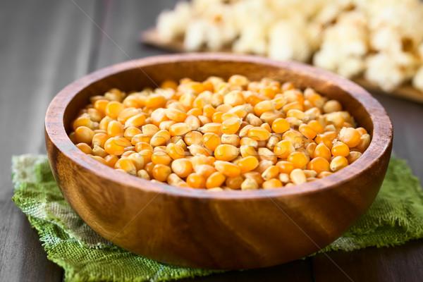 Sarı patlamış mısır ahşap çanak Stok fotoğraf © ildi