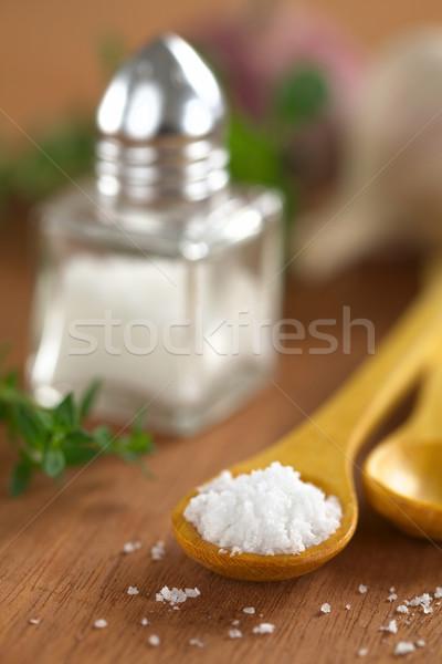 Salt on Wooden Spoon Stock photo © ildi