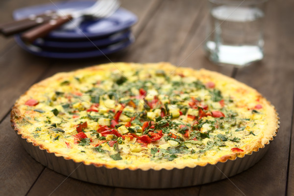 Zucchini and Pepper Quiche Stock photo © ildi