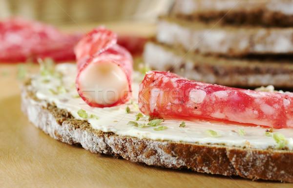 Salame fetta rosolare pane crema formaggio Foto d'archivio © ildi