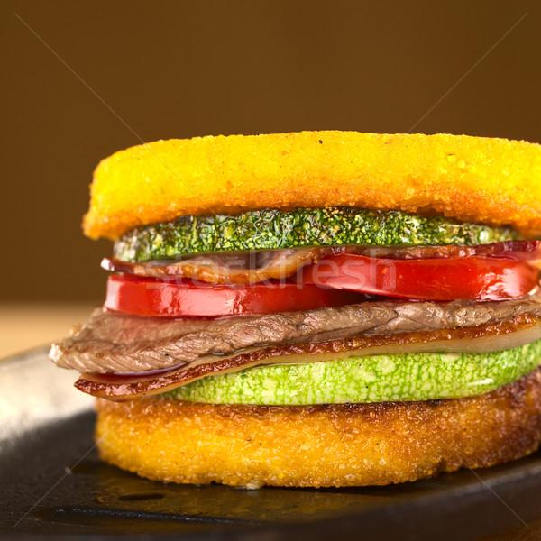 Photo stock: Burger · frit · courgettes · lard · boeuf · tomate