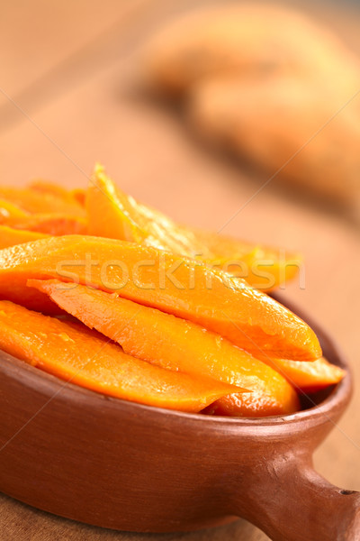 Zoete aardappel bruine suiker vers sinaasappelsap rustiek kom Stockfoto © ildi