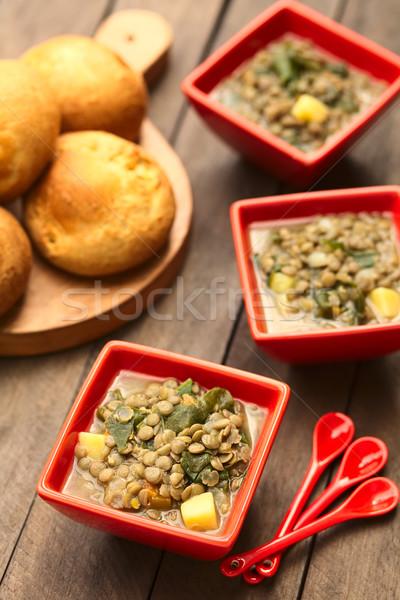 Spinazie soep vegetarisch aardappel Stockfoto © ildi