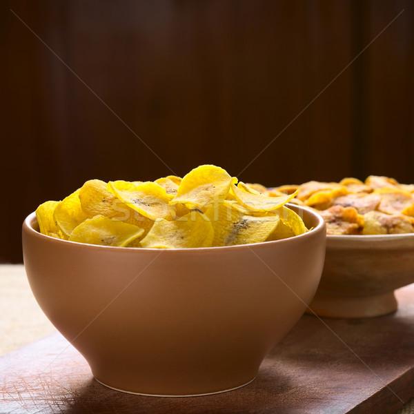 Tuzlu tatlı cips çanaklar geri Stok fotoğraf © ildi