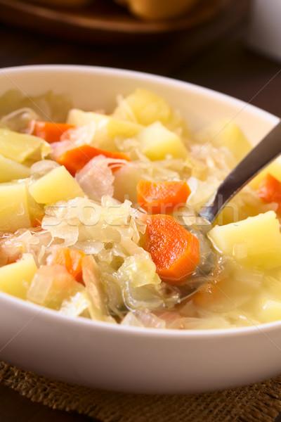 Lâhana turşusu çorba güveç vejetaryen havuç patates Stok fotoğraf © ildi