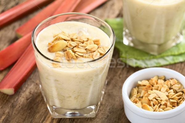 Rabarbar jogurt pochlebca domowej roboty Zdjęcia stock © ildi