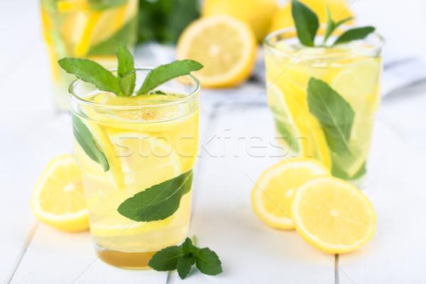 Frischen Limonade mint hausgemachte Blätter selektiven Fokus Stock foto © ildi