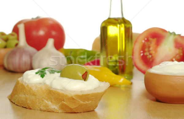 Baguette with Cream Cheese and Olive Stock photo © ildi