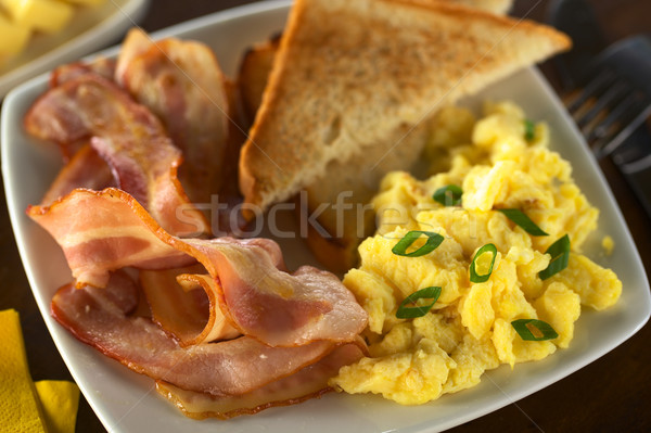 Bacon and Scrambled Egg with Toast Bread  Stock photo © ildi