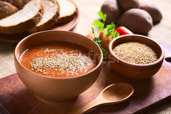 Krem susam çorba domates havuç Stok fotoğraf © ildi