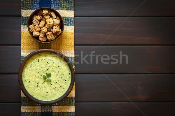 Crema zucchine zuppa shot rustico ciotola Foto d'archivio © ildi