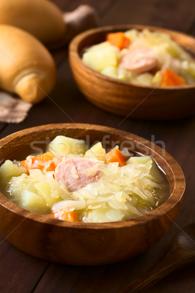 Savanyú káposzta leves pörkölt előkészített krumpli sárgarépa Stock fotó © ildi