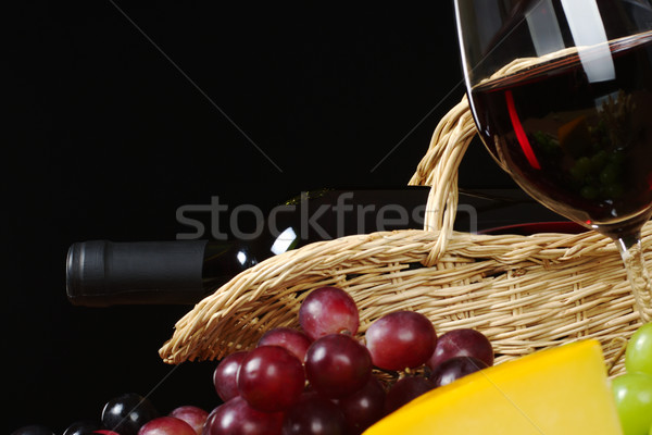 Wine Bottle in Basket Stock photo © ildi