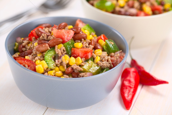 Photo stock: Chili · salade · rénale · fèves · vert
