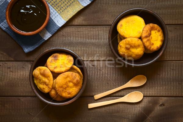 Sült sütemény lövés hagyományos sütőtök felszolgált Stock fotó © ildi