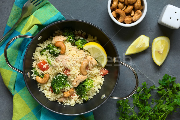 Couscous with Chicken, Broccoli, Tomato, Cashew Nut Stock photo © ildi