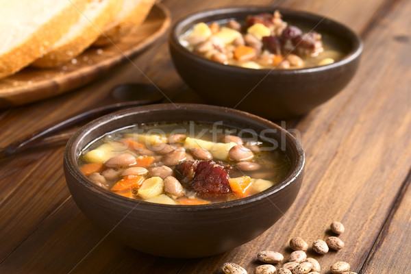 Foto stock: Húngaro · sopa · de · frijol · tradicional · frijol · sopa · frijoles