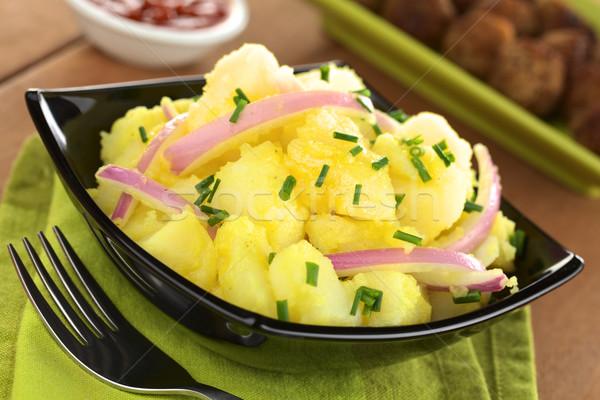 Patates salatası soğan hazır güney Almanya köfte Stok fotoğraf © ildi