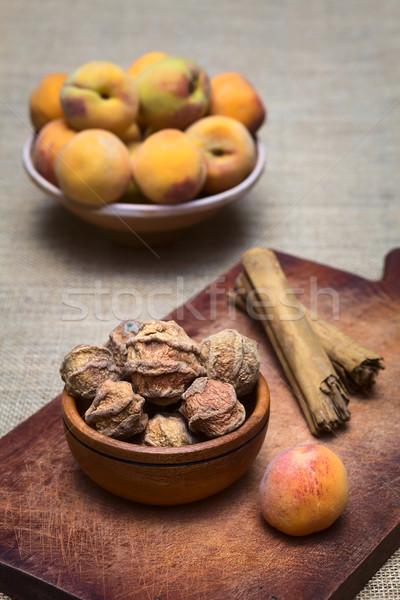 Getrocknet geschält Pfirsich vorbereitet Zucker Stock foto © ildi
