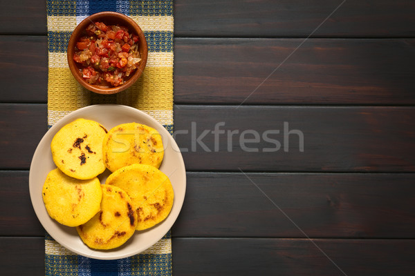 Stock photo: Colombian Arepa with Hogao Sauce