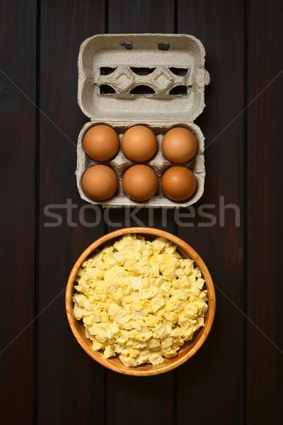 Foto stock: Huevo · ensalada · frescos · casero · preparado · mayonesa