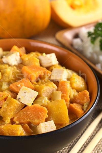 Tofu sütőtök édesburgonya curry szelektív fókusz fókusz Stock fotó © ildi