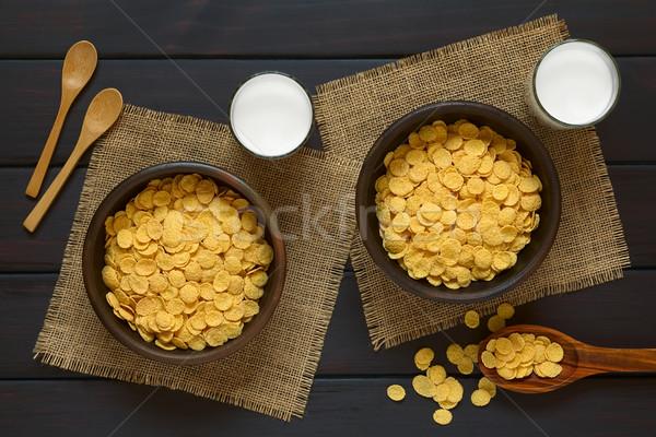 Cornflakes ontbijtgranen melk twee rustiek Stockfoto © ildi