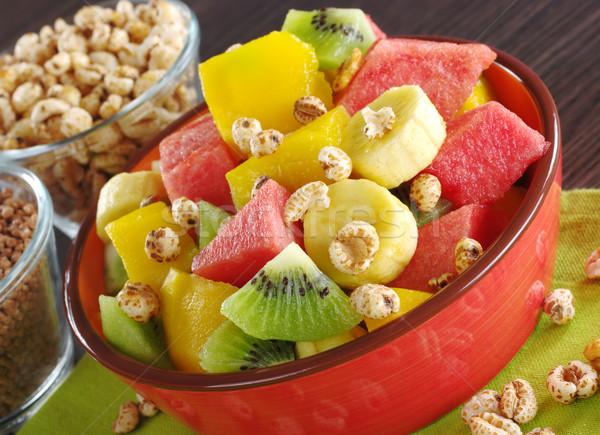 Stock fotó: Gyümölcssaláta · gabonafélék · friss · gyümölcs · saláta · banán · kiwi