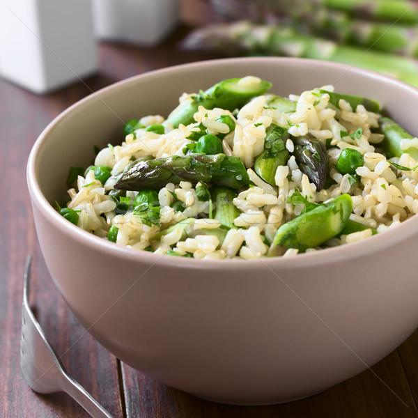 Asperges bruin rijst risotto groene peterselie Stockfoto © ildi