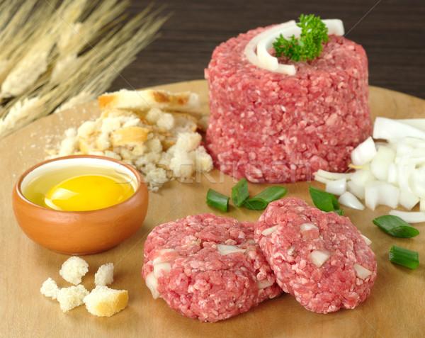 Ingredientes huevo suelo carne secado pan Foto stock © ildi