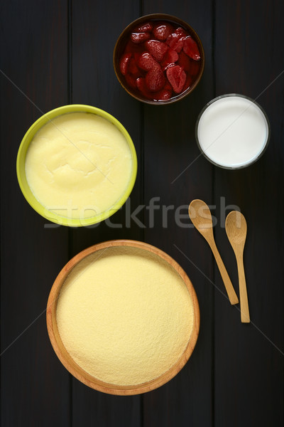 Raw Semolina, Semolina Pudding, Milk, Cooked Strawberry Stock photo © ildi