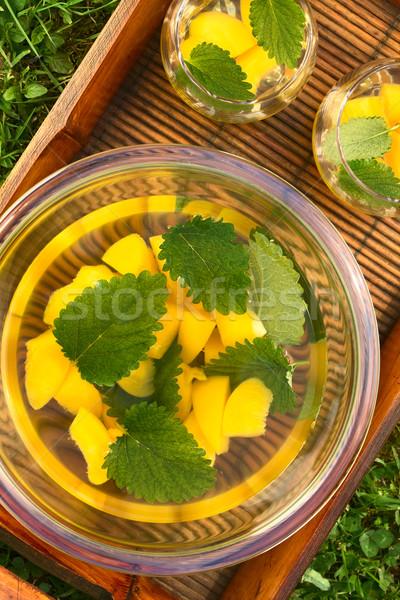 Barack citrom balzsam fehérbor frissítő bor Stock fotó © ildi